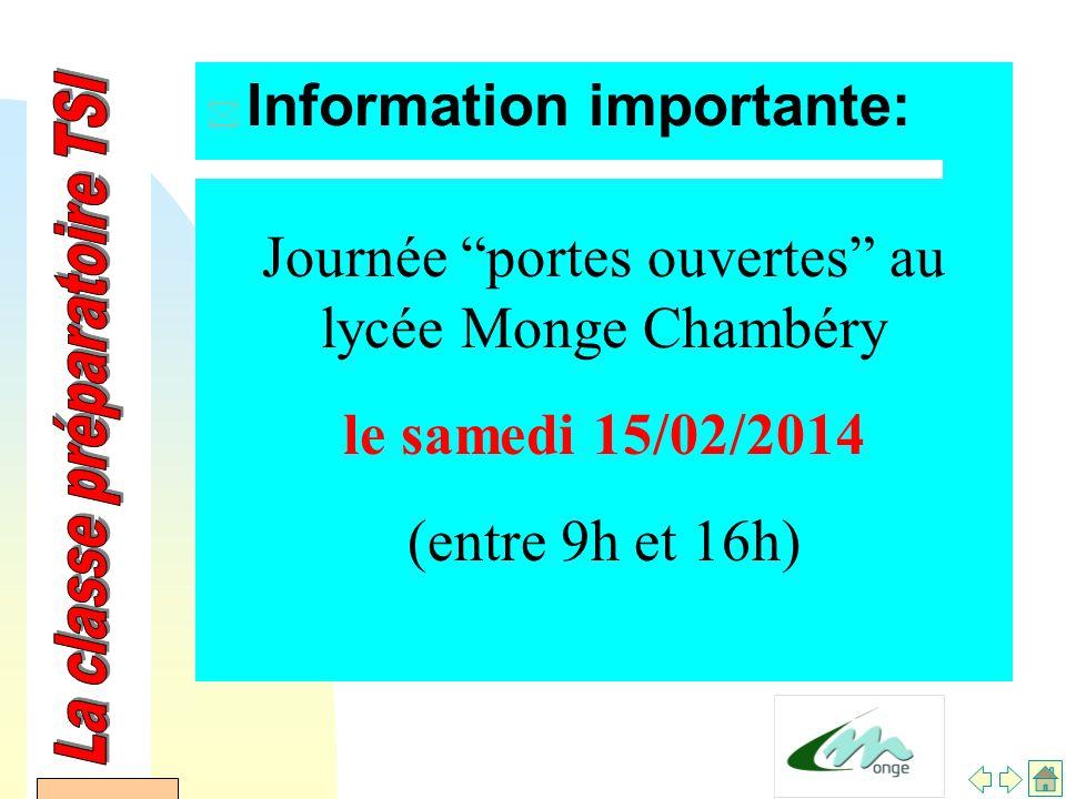 AFDET 17 Janvier 2002 * Information importante: Journée portes ouvertes au lycée Monge Chambéry le samedi 15/02/2014 (entre 9h et 16h)