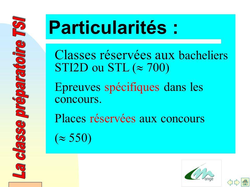 AFDET 17 Janvier 2002 Particularités : Classes réservées aux bacheliers STI2D ou STL (  700) Epreuves spécifiques dans les concours.