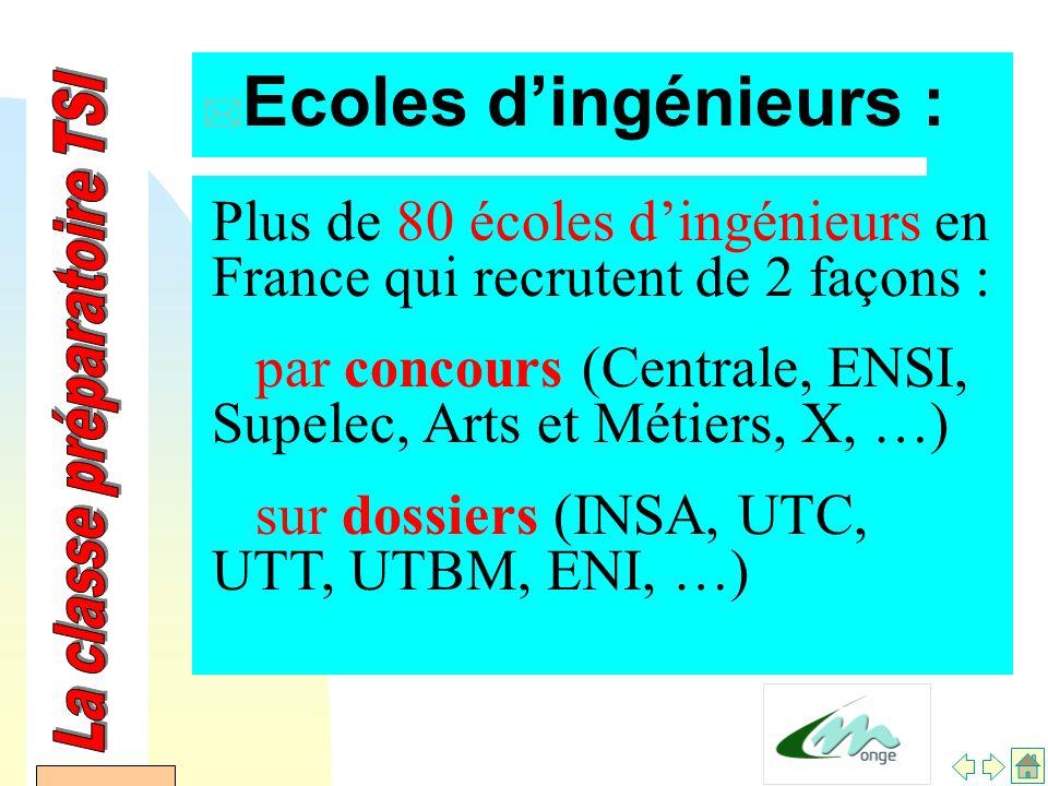 AFDET 17 Janvier 2002 * Ecoles d'ingénieurs : Plus de 80 écoles d'ingénieurs en France qui recrutent de 2 façons : par concours (Centrale, ENSI, Supelec, Arts et Métiers, X, …) sur dossiers (INSA, UTC, UTT, UTBM, ENI, …)