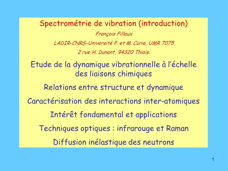 1 Spectrométrie de vibration (introduction) François Fillaux LADIR-CNRS-Université P.