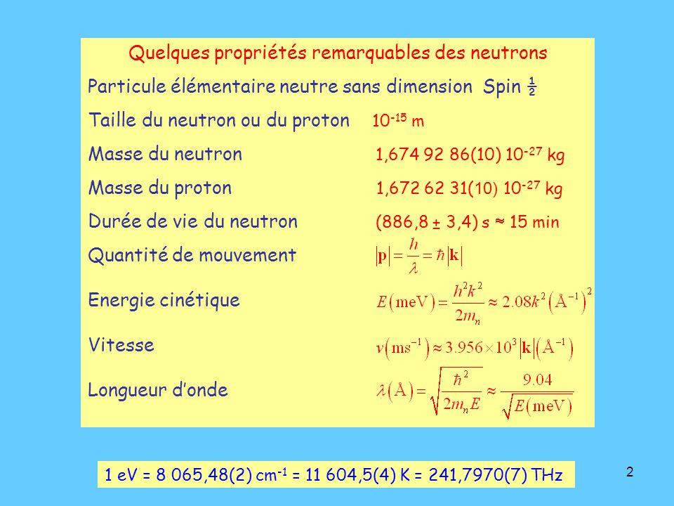 2 Quelques propriétés remarquables des neutrons Particule élémentaire neutre sans dimension Spin ½ Taille du neutron ou du proton 10 -15 m Masse du neutron 1,674 92 86(10) 10 -27 kg Masse du proton 1,672 62 31( 10) 10 -27 kg Durée de vie du neutron (886,8 ± 3,4) s  15 min Quantité de mouvement Energie cinétique Vitesse Longueur d'onde 1 eV = 8 065,48(2) cm -1 = 11 604,5(4) K = 241,7970(7) THz