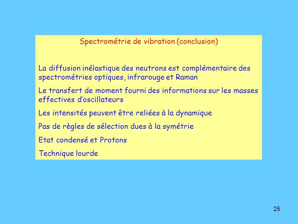 25 Spectrométrie de vibration (conclusion) La diffusion inélastique des neutrons est complémentaire des spectrométries optiques, infrarouge et Raman Le transfert de moment fourni des informations sur les masses effectives d'oscillateurs Les intensités peuvent être reliées à la dynamique Pas de règles de sélection dues à la symétrie Etat condensé et Protons Technique lourde