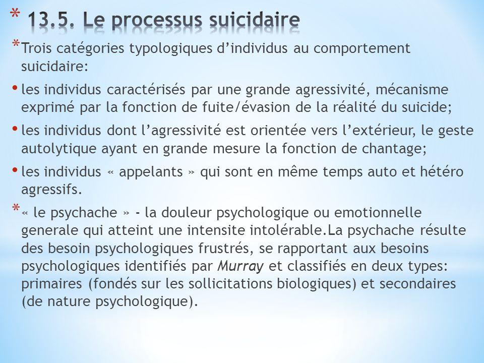 * Trois catégories typologiques d'individus au comportement suicidaire: les individus caractérisés par une grande agressivité, mécanisme exprimé par l