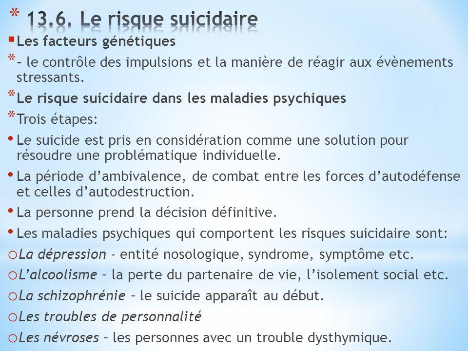  Les facteurs génétiques * - le contrôle des impulsions et la manière de réagir aux évènements stressants. * Le risque suicidaire dans les maladies p