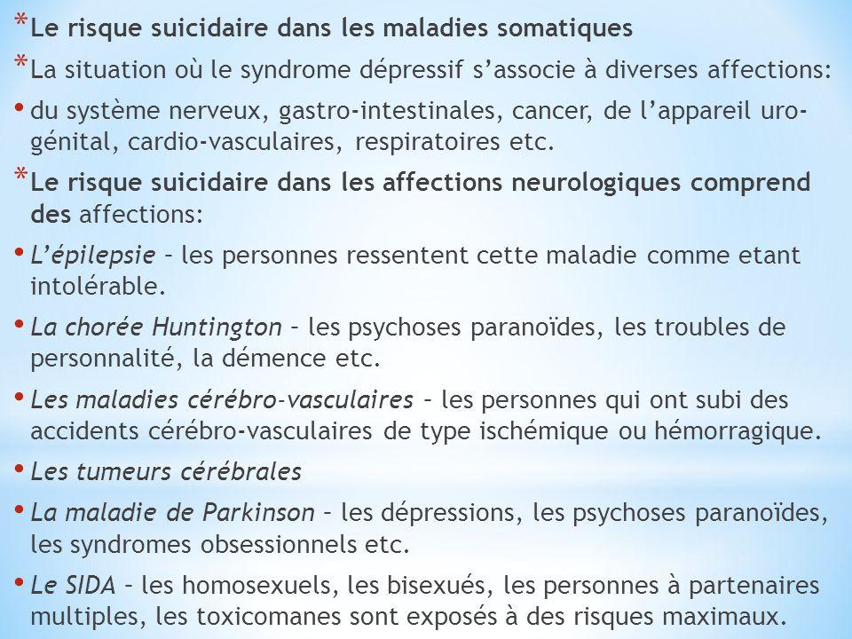 * Le risque suicidaire dans les maladies somatiques * La situation où le syndrome dépressif s'associe à diverses affections: du système nerveux, gastr