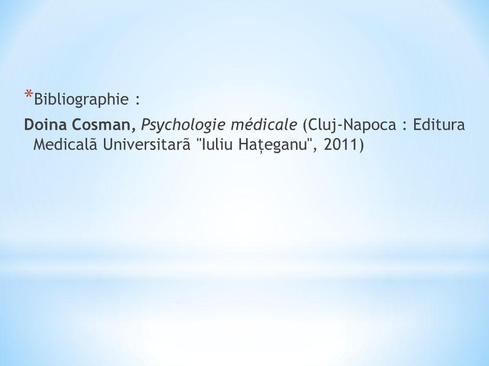 * Bibliographie : Doina Cosman, Psychologie médicale (Cluj-Napoca : Editura Medicalã Universitarã