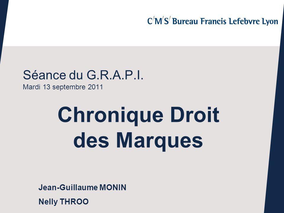 Séance du G.R.A.P.I. Mardi 13 septembre 2011 Chronique Droit des Marques Jean-Guillaume MONIN Nelly THROO