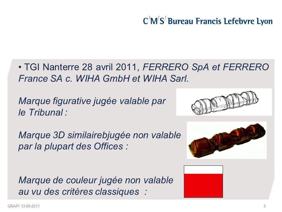 TGI Nanterre 28 avril 2011, FERRERO SpA et FERRERO France SA c. WIHA GmbH et WIHA Sarl. Marque figurative jugée valable par le Tribunal : Marque 3D si