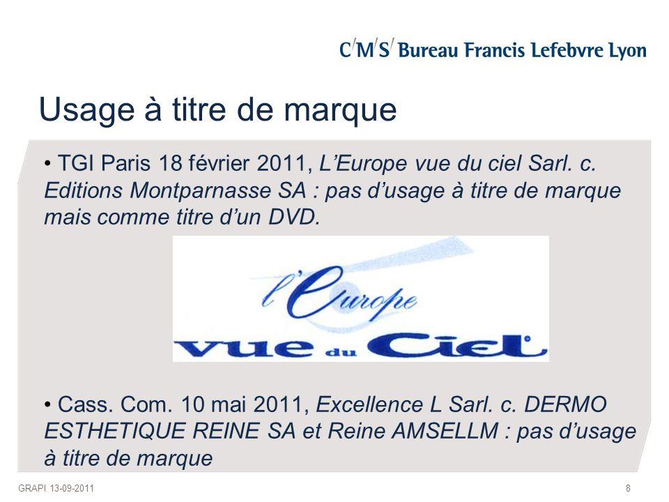 Usage à titre de marque TGI Paris 18 février 2011, L'Europe vue du ciel Sarl. c. Editions Montparnasse SA : pas d'usage à titre de marque mais comme t