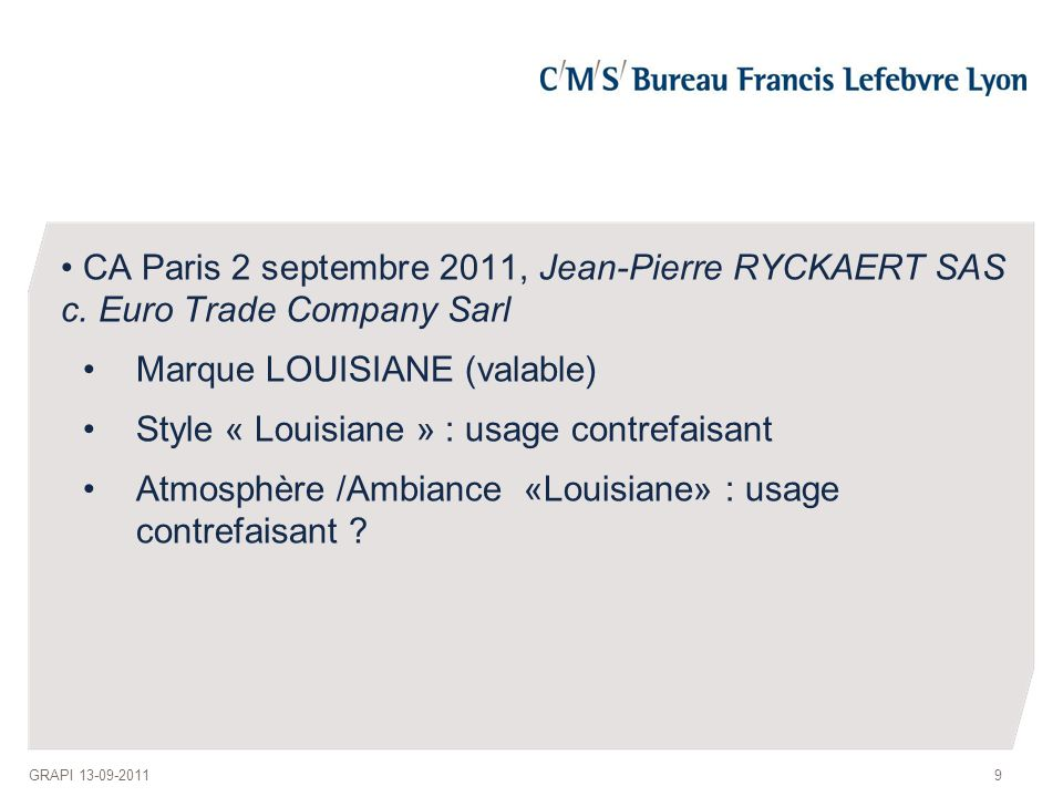 CA Paris 2 septembre 2011, Jean-Pierre RYCKAERT SAS c.