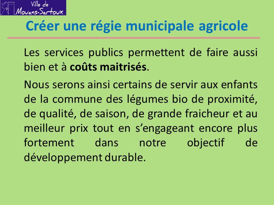 Créer une régie municipale agricole Les services publics permettent de faire aussi bien et à coûts maitrisés. Nous serons ainsi certains de servir aux