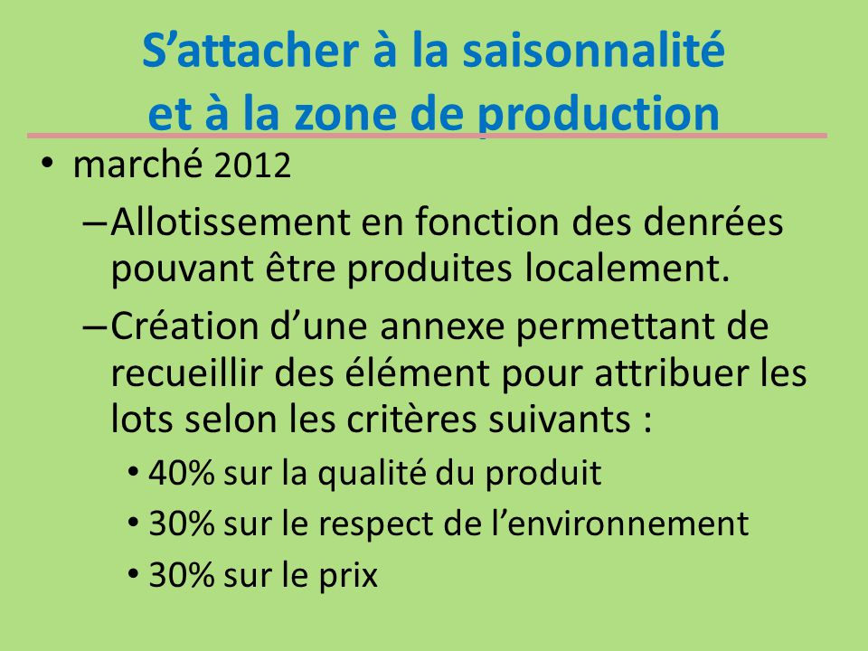 S'attacher à la saisonnalité et à la zone de production marché 2012 – Allotissement en fonction des denrées pouvant être produites localement. – Créat