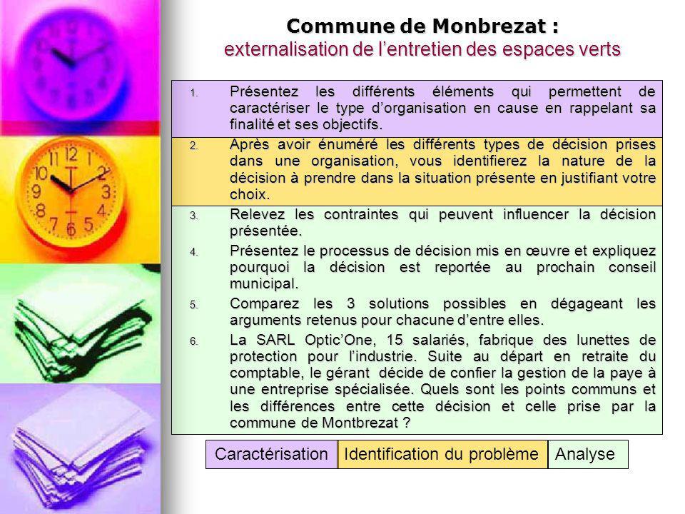 Commune de Monbrezat : externalisation de l'entretien des espaces verts 1. Présentez les différents éléments qui permettent de caractériser le type d'