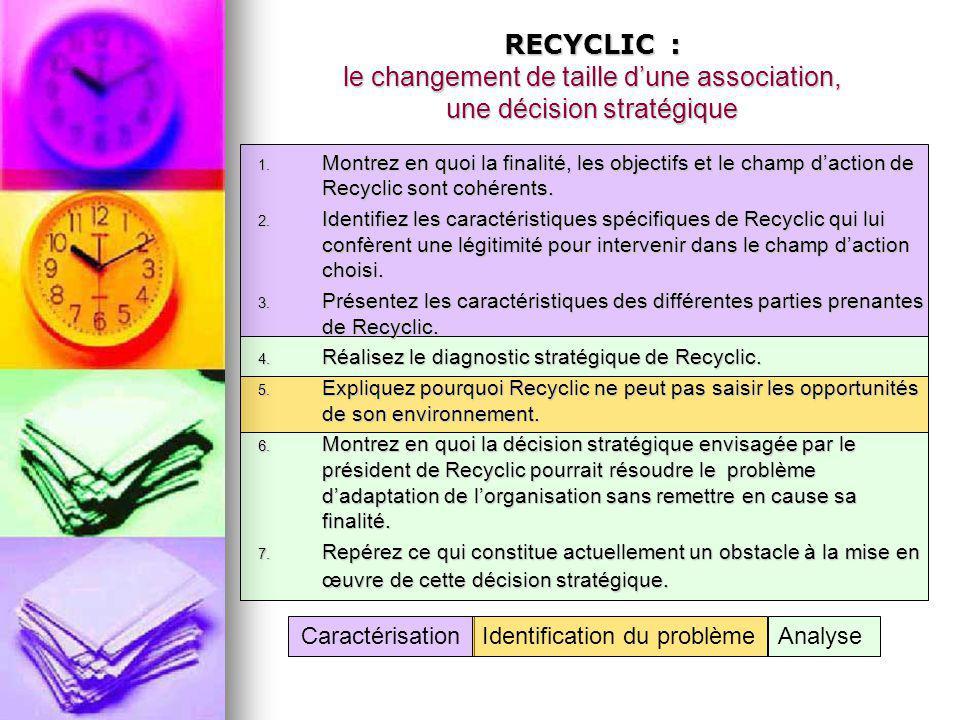 RECYCLIC : le changement de taille d'une association, une décision stratégique 1. Montrez en quoi la finalité, les objectifs et le champ d'action de R