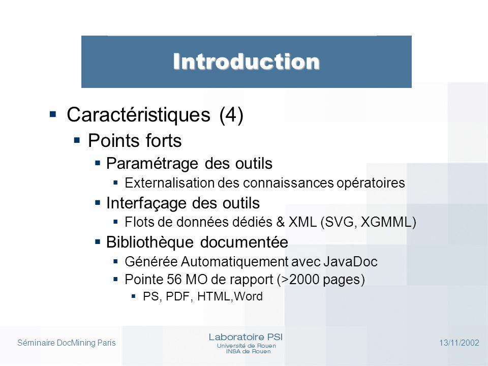Séminaire DocMining Paris 13/11/2002 Introduction  Caractéristiques (5)  Points faibles  Fiabilité de la librairie  Pas de test de robustesse  Pas de code de gestion d'erreurs  Implémentation plus procédurale qu'objet
