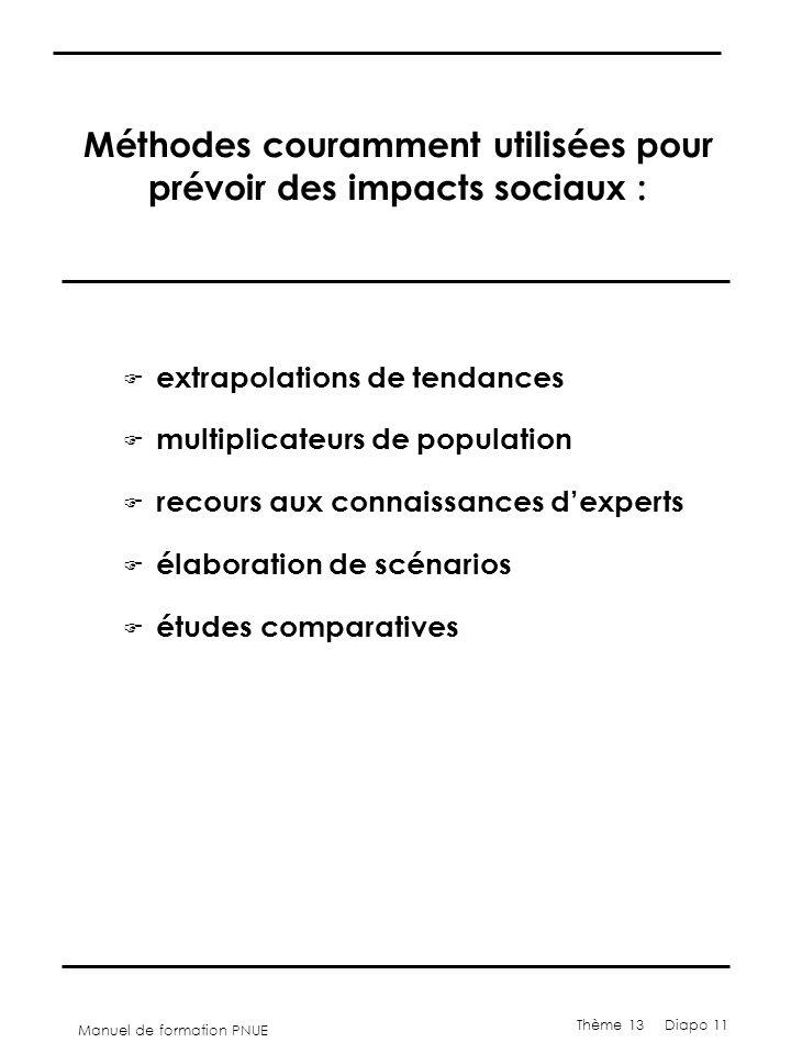 Manuel de formation PNUE Thème 13 Diapo 11 Méthodes couramment utilisées pour prévoir des impacts sociaux : F extrapolations de tendances F multiplica