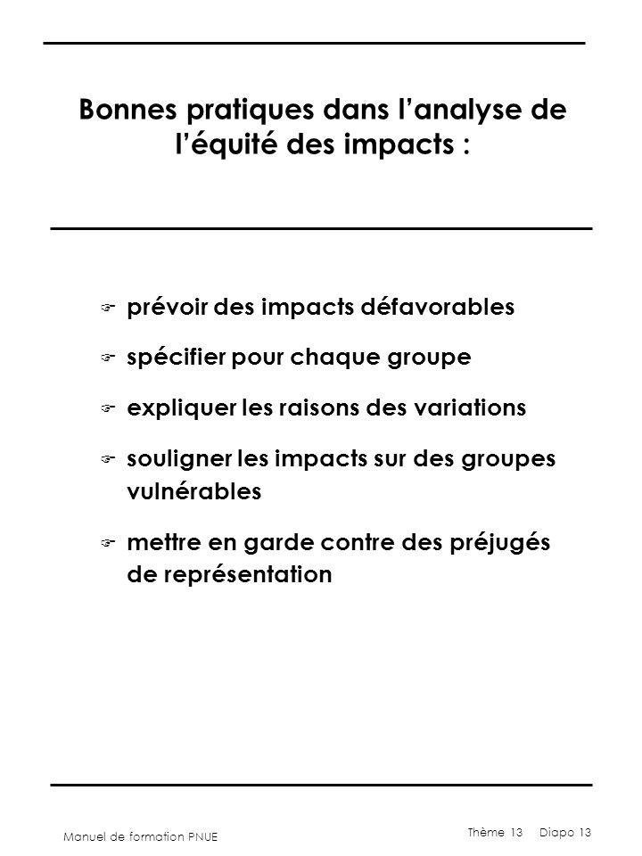 Manuel de formation PNUE Thème 13 Diapo 13 Bonnes pratiques dans l'analyse de l'équité des impacts : F prévoir des impacts défavorables F spécifier po
