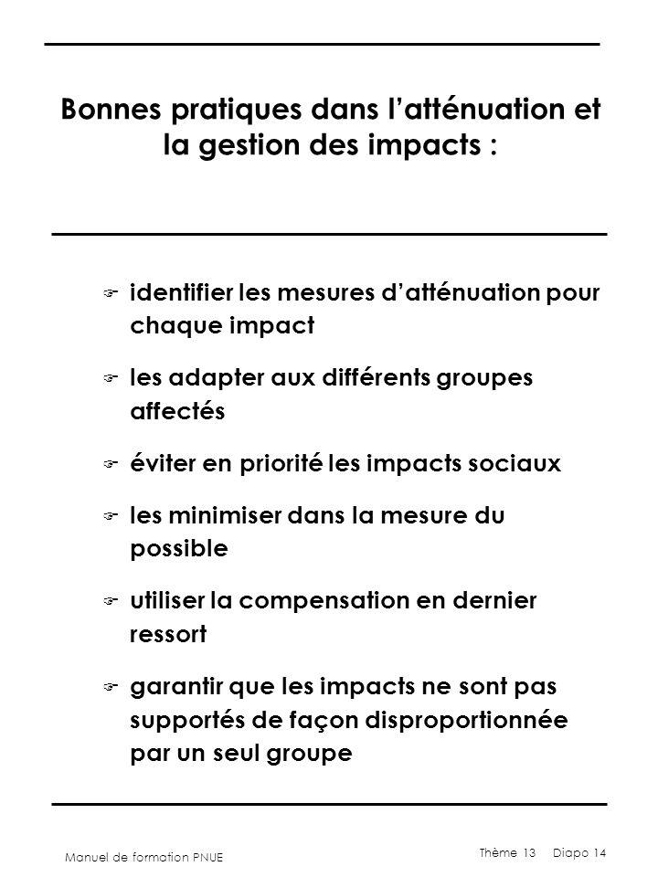 Manuel de formation PNUE Thème 13 Diapo 14 Bonnes pratiques dans l'atténuation et la gestion des impacts : F identifier les mesures d'atténuation pour