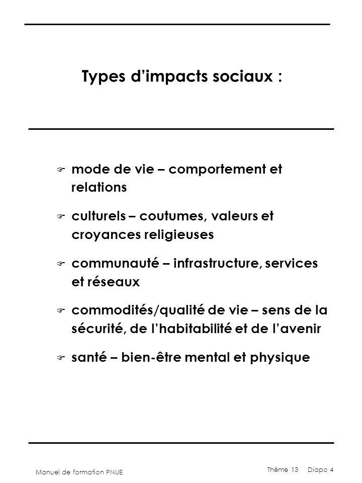 Manuel de formation PNUE Thème 13 Diapo 4 Types d'impacts sociaux : F mode de vie – comportement et relations F culturels – coutumes, valeurs et croya