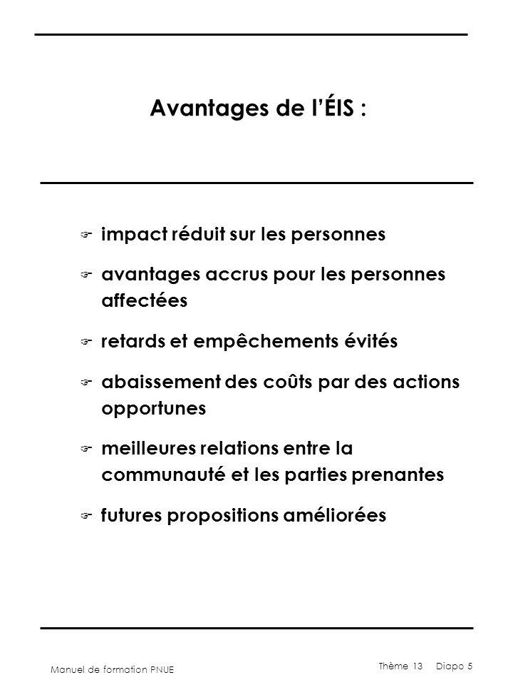 Manuel de formation PNUE Thème 13 Diapo 5 Avantages de l'ÉIS : F impact réduit sur les personnes F avantages accrus pour les personnes affectées F retards et empêchements évités F abaissement des coûts par des actions opportunes F meilleures relations entre la communauté et les parties prenantes F futures propositions améliorées