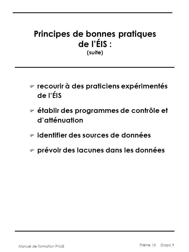 Manuel de formation PNUE Thème 13 Diapo 9 Principes de bonnes pratiques de l'ÉIS : (suite) F recourir à des praticiens expérimentés de l'ÉIS F établir des programmes de contrôle et d'atténuation F identifier des sources de données F prévoir des lacunes dans les données