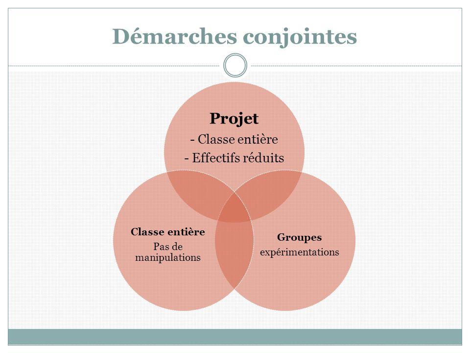 Démarches conjointes Projet - Classe entière - Effectifs réduits Groupes expérimentations Classe entière Pas de manipulations