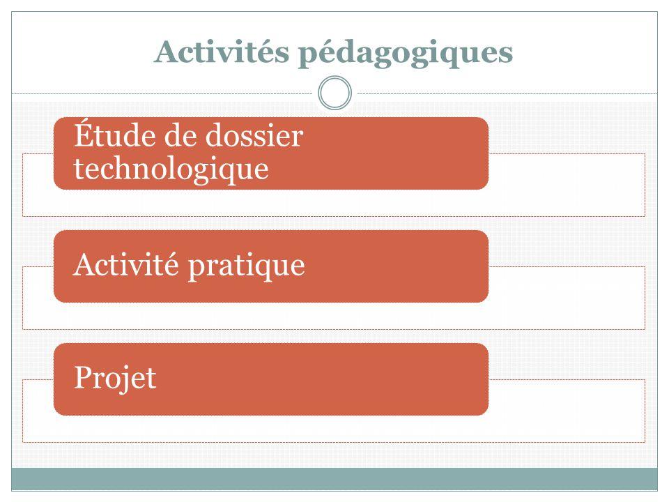 Activités pédagogiques Étude de dossier technologique Activité pratiqueProjet