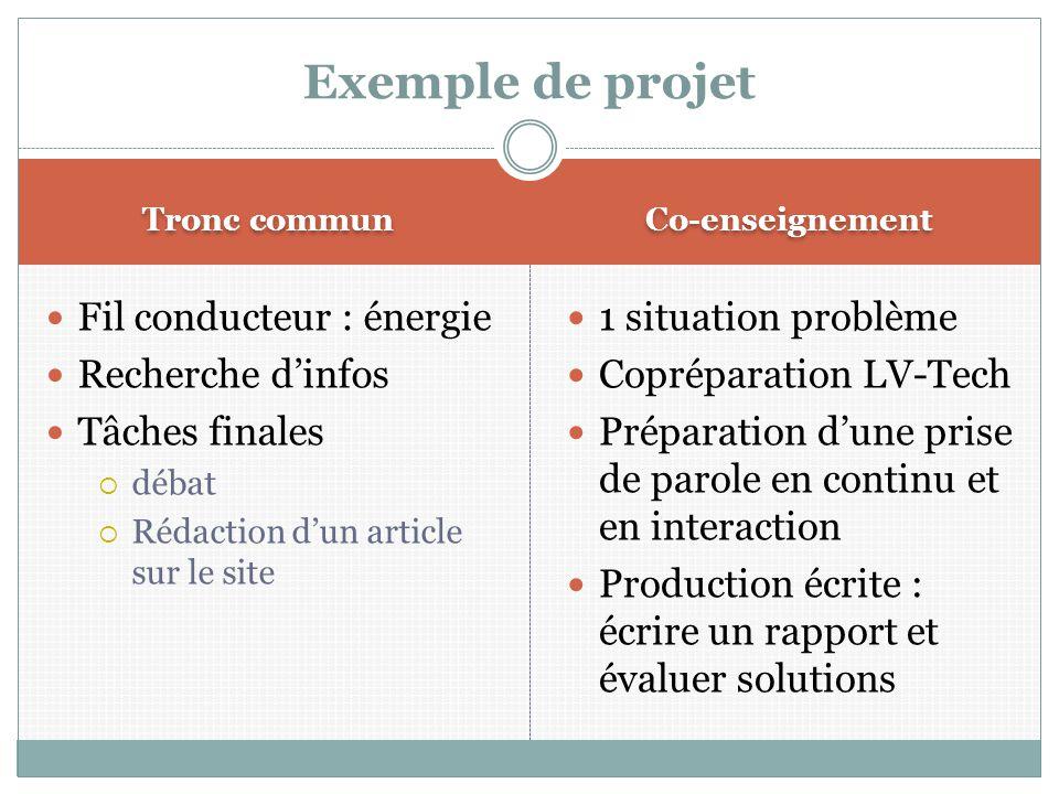Tronc commun Co-enseignement Fil conducteur : énergie Recherche d'infos Tâches finales  débat  Rédaction d'un article sur le site 1 situation problè