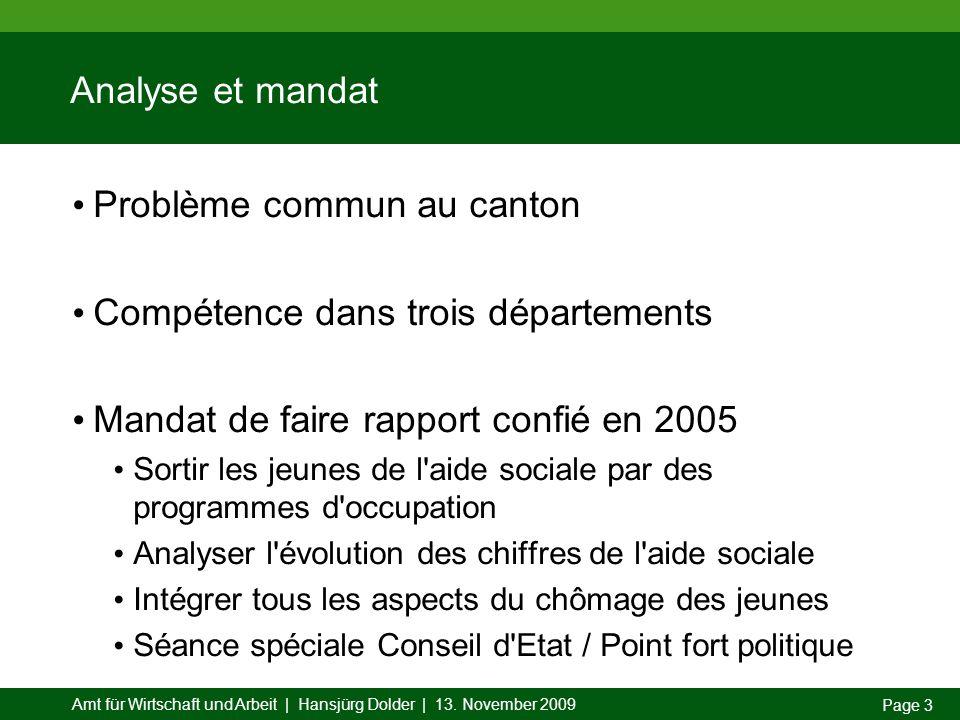 Amt für Wirtschaft und Arbeit | Hansjürg Dolder | 13. November 2009 Page 3 Analyse et mandat Problème commun au canton Compétence dans trois départeme