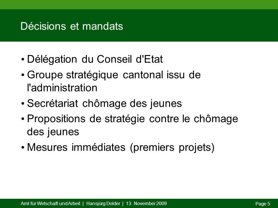 Amt für Wirtschaft und Arbeit | Hansjürg Dolder | 13. November 2009 Page 5 Décisions et mandats Délégation du Conseil d'Etat Groupe stratégique canton