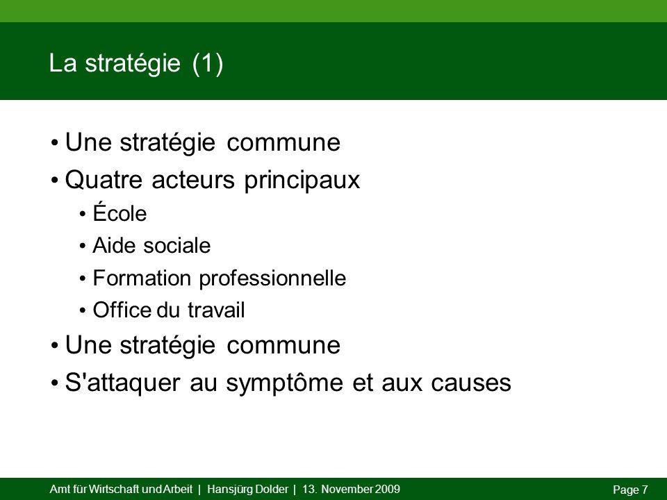 Amt für Wirtschaft und Arbeit | Hansjürg Dolder | 13. November 2009 Page 7 La stratégie (1) Une stratégie commune Quatre acteurs principaux École Aide