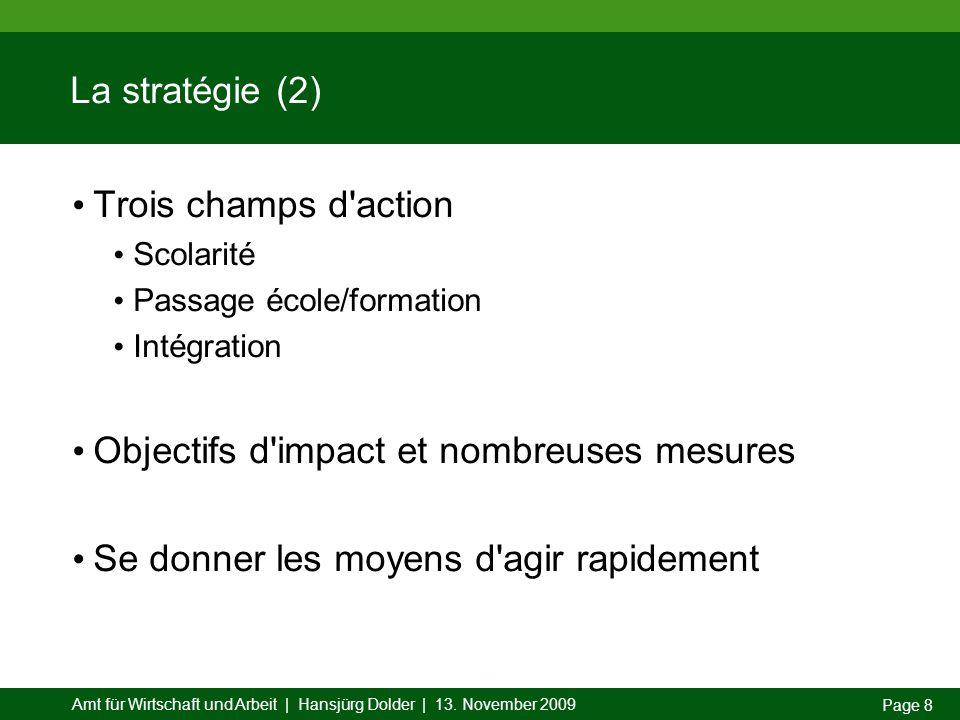 Amt für Wirtschaft und Arbeit | Hansjürg Dolder | 13. November 2009 Page 8 La stratégie (2) Trois champs d'action Scolarité Passage école/formation In