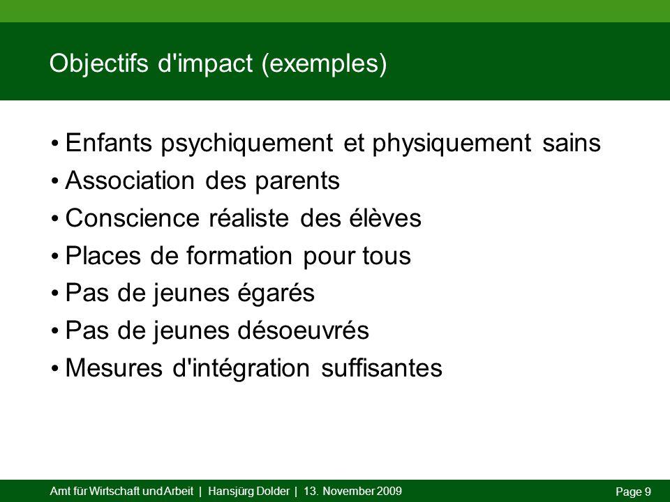 Amt für Wirtschaft und Arbeit | Hansjürg Dolder | 13. November 2009 Page 9 Objectifs d'impact (exemples) Enfants psychiquement et physiquement sains A