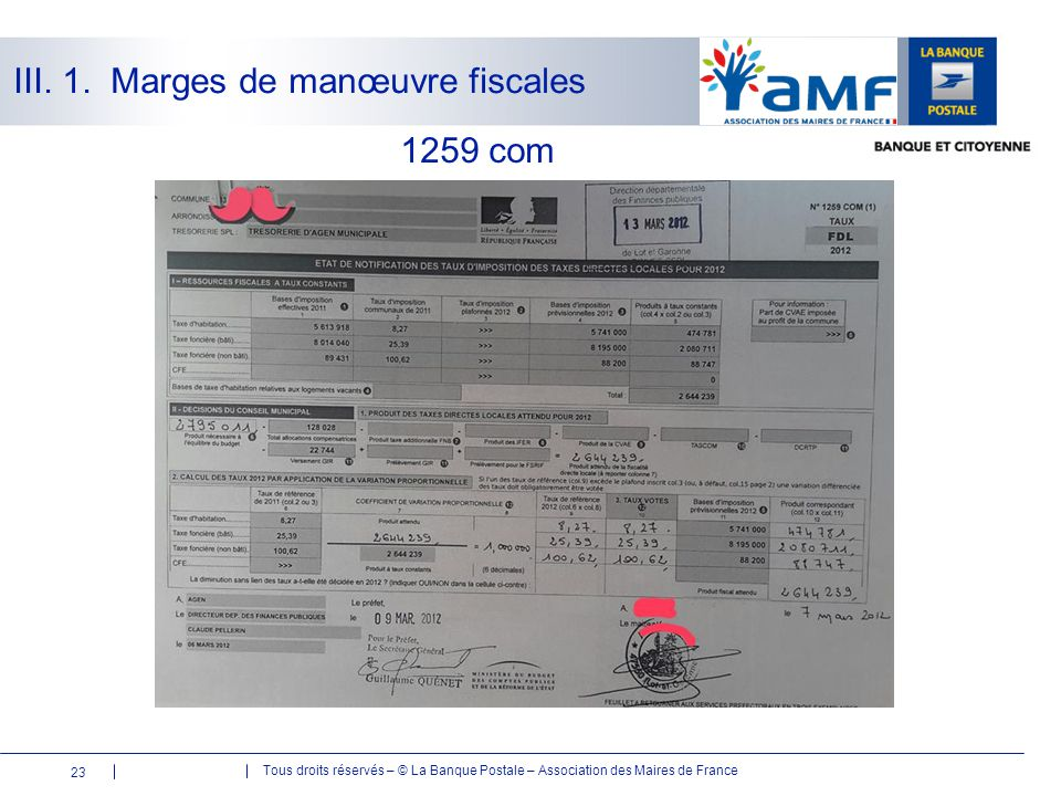Tous droits réservés – © La Banque Postale – Association des Maires de France 1259 com 23 III. 1. Marges de manœuvre fiscales