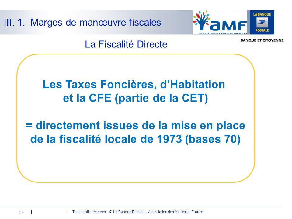 Tous droits réservés – © La Banque Postale – Association des Maires de France La Fiscalité Directe 24 Les Taxes Foncières, d'Habitation et la CFE (par