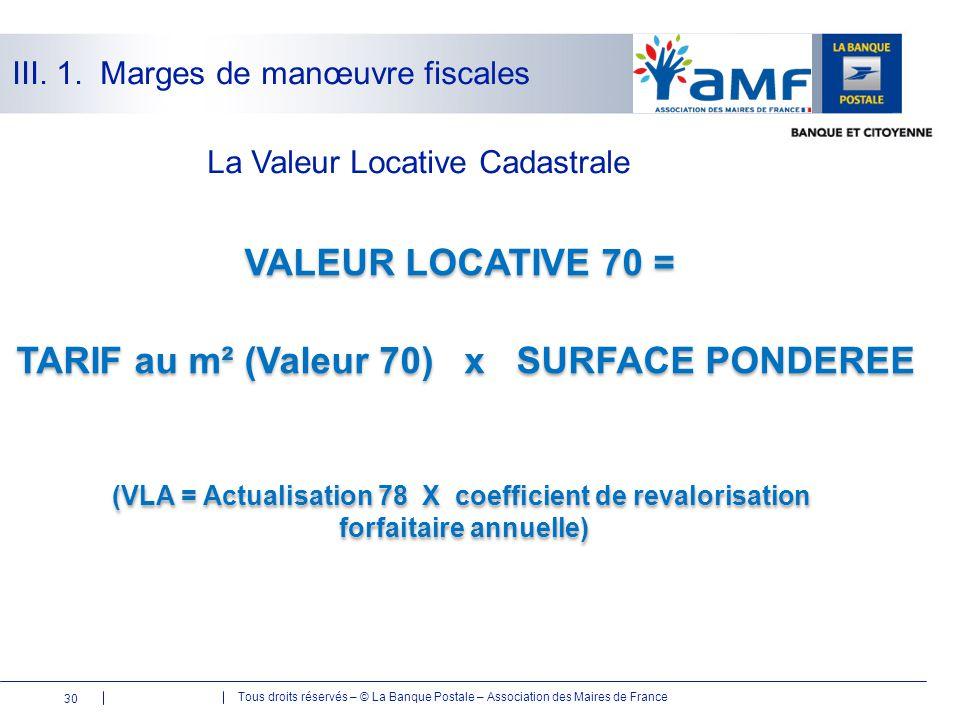 Tous droits réservés – © La Banque Postale – Association des Maires de France 30 La Valeur Locative Cadastrale VALEUR LOCATIVE 70 = TARIF au m² (Valeu