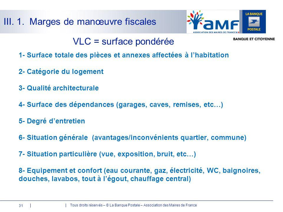 Tous droits réservés – © La Banque Postale – Association des Maires de France 31 VLC = surface pondérée 1- Surface totale des pièces et annexes affect