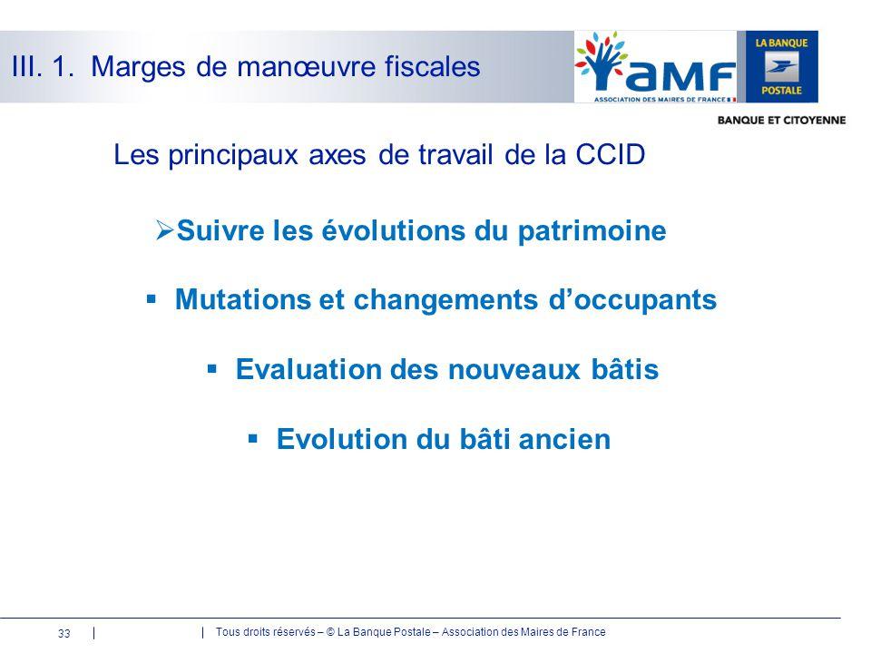 Tous droits réservés – © La Banque Postale – Association des Maires de France 33 Les principaux axes de travail de la CCID  Suivre les évolutions du