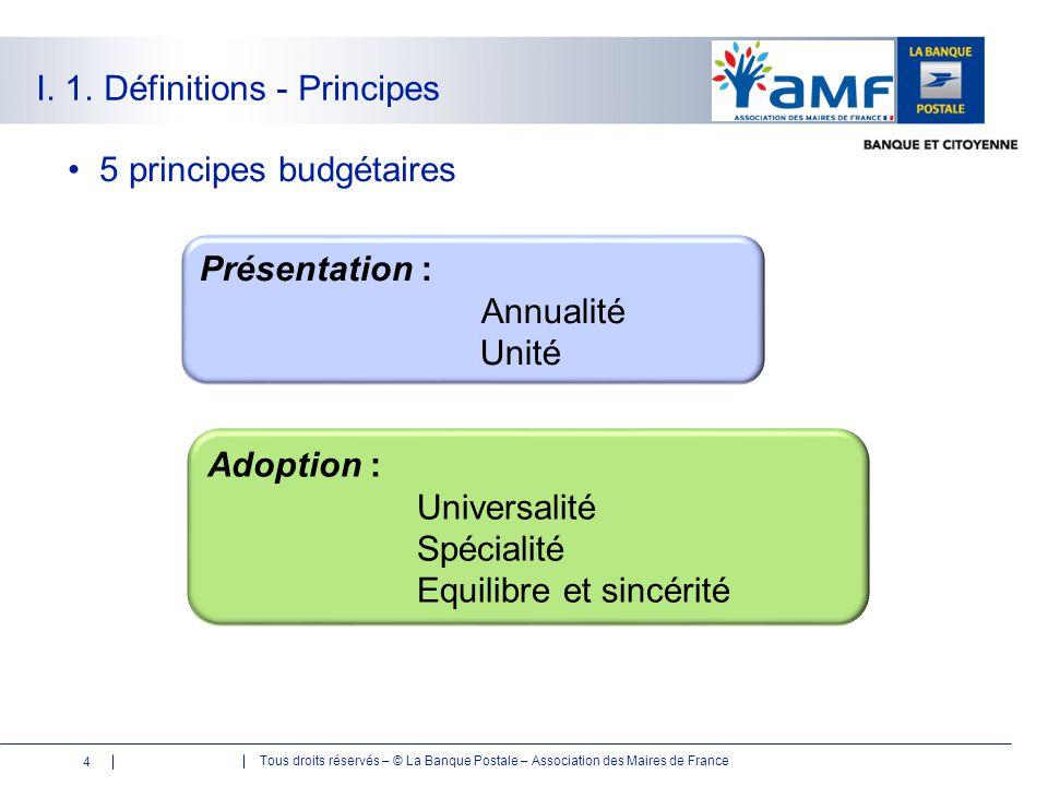 Tous droits réservés – © La Banque Postale – Association des Maires de France I. 1. Définitions - Principes 5 principes budgétaires Présentation : Ann