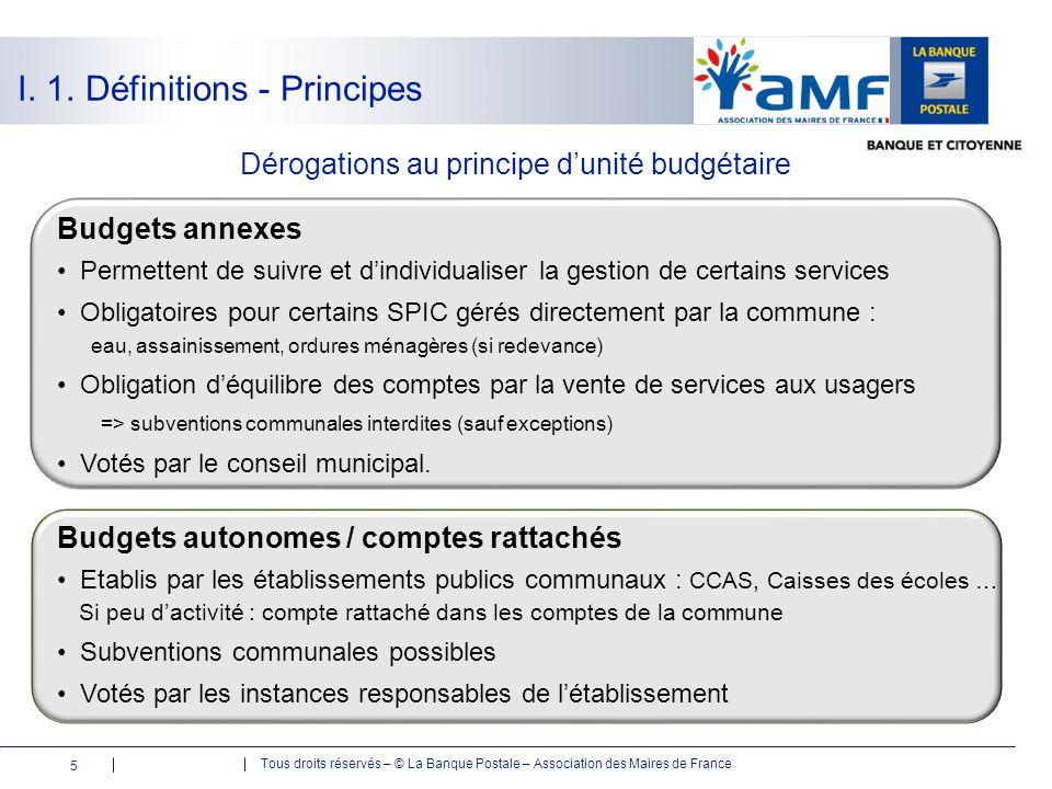Tous droits réservés – © La Banque Postale – Association des Maires de France Budgets annexes Permettent de suivre et d'individualiser la gestion de c