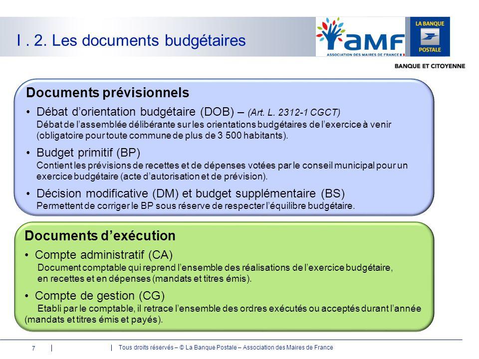 Tous droits réservés – © La Banque Postale – Association des Maires de France I. 2. Les documents budgétaires Documents prévisionnels Débat d'orientat