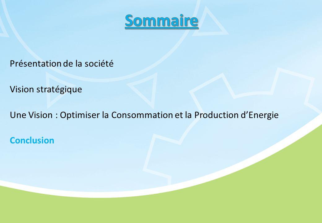 Présentation de la société Vision stratégique Une Vision : Optimiser la Consommation et la Production d'Energie Conclusion
