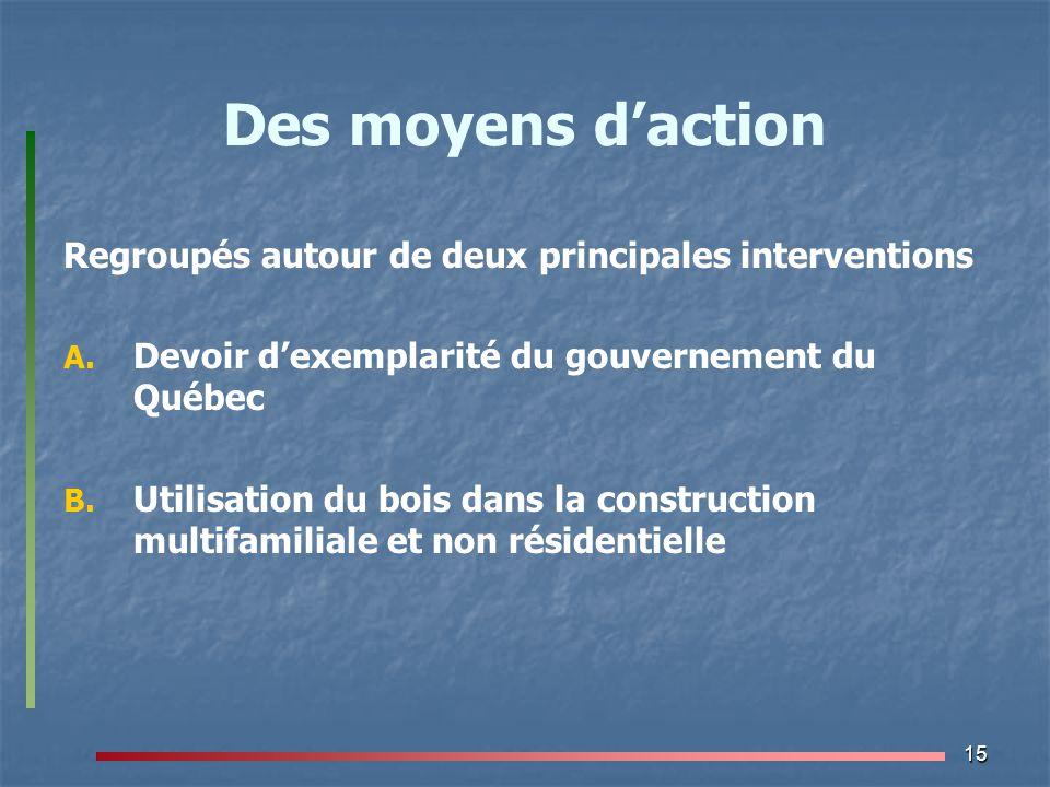 15 Des moyens d'action Regroupés autour de deux principales interventions A. A. Devoir d'exemplarité du gouvernement du Québec B. B. Utilisation du bo
