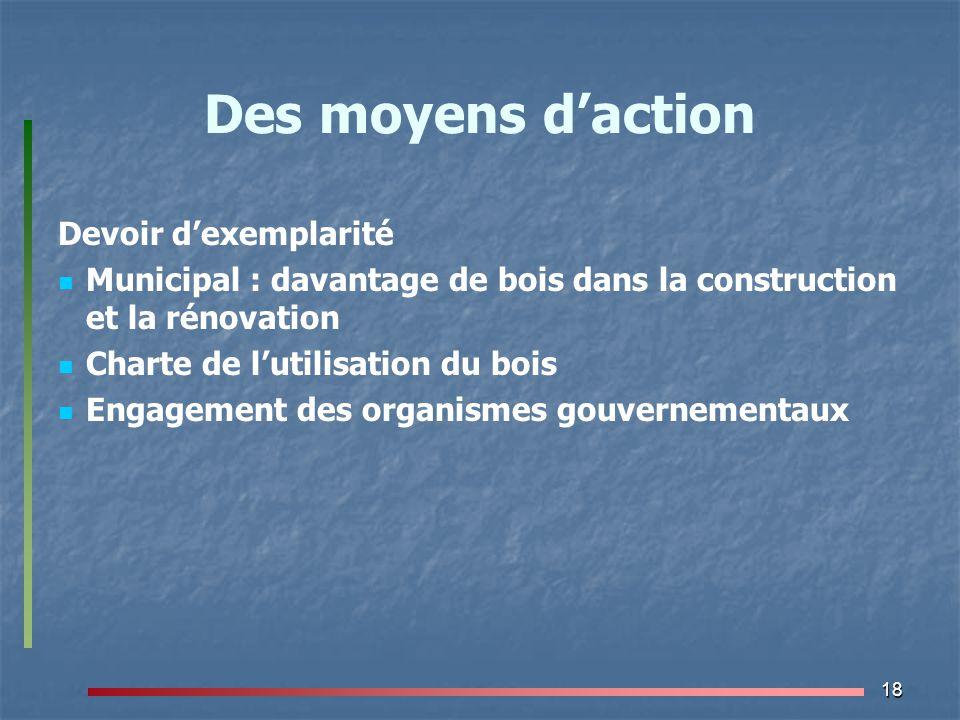 18 Des moyens d'action Devoir d'exemplarité Municipal : davantage de bois dans la construction et la rénovation Charte de l'utilisation du bois Engage