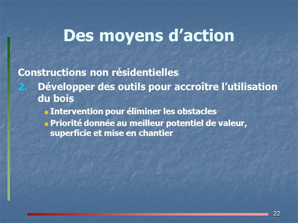 22 Des moyens d'action Constructions non résidentielles 2. 2.Développer des outils pour accroître l'utilisation du bois Intervention pour éliminer les
