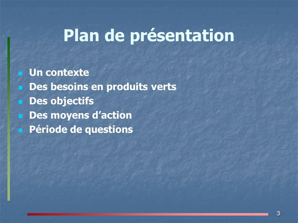3 Plan de présentation Un contexte Des besoins en produits verts Des objectifs Des moyens d'action Période de questions