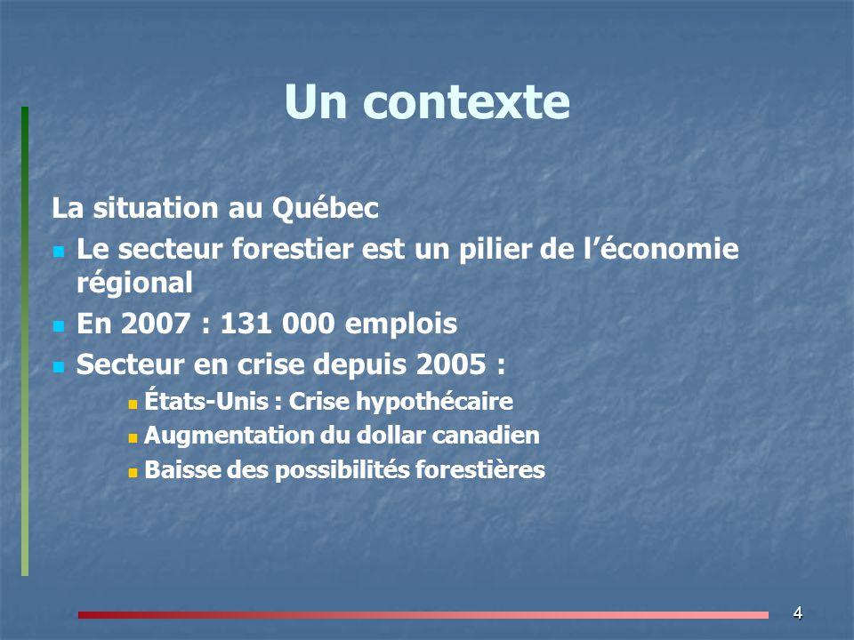 4 Un contexte La situation au Québec Le secteur forestier est un pilier de l'économie régional En 2007 : 131 000 emplois Secteur en crise depuis 2005