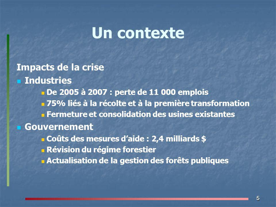 5 Un contexte Impacts de la crise Industries De 2005 à 2007 : perte de 11 000 emplois 75% liés à la récolte et à la première transformation Fermeture