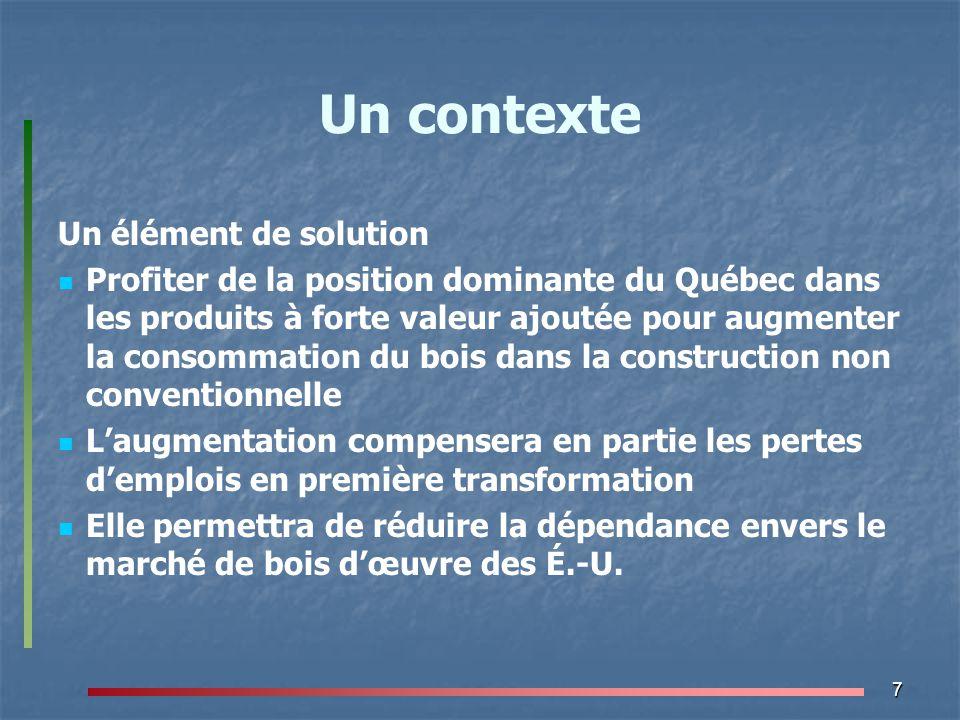 8 Un contexte Un élément de solution Profiter de l'importance prise mondialement par les questions environnementales Plusieurs États ont une stratégie d'utilisation du bois comme substitut aux produits énergivores Fait partie de leur lutte contre les émissions de gaz à effet de serre (GES) Exemple « Plan Bois Construction Environnement » de la France
