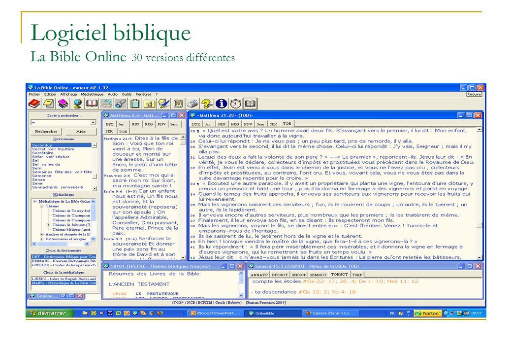 Logiciel biblique La Bible Online 30 versions différentes